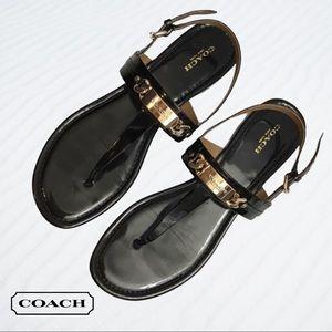 Coach Caterine Patent T Strap Sandals, size 8.5